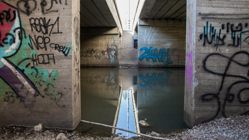 נחל הירקון מתחת לגשר