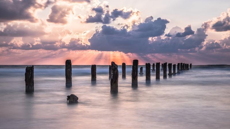 עמודים בחוף בית ינאי